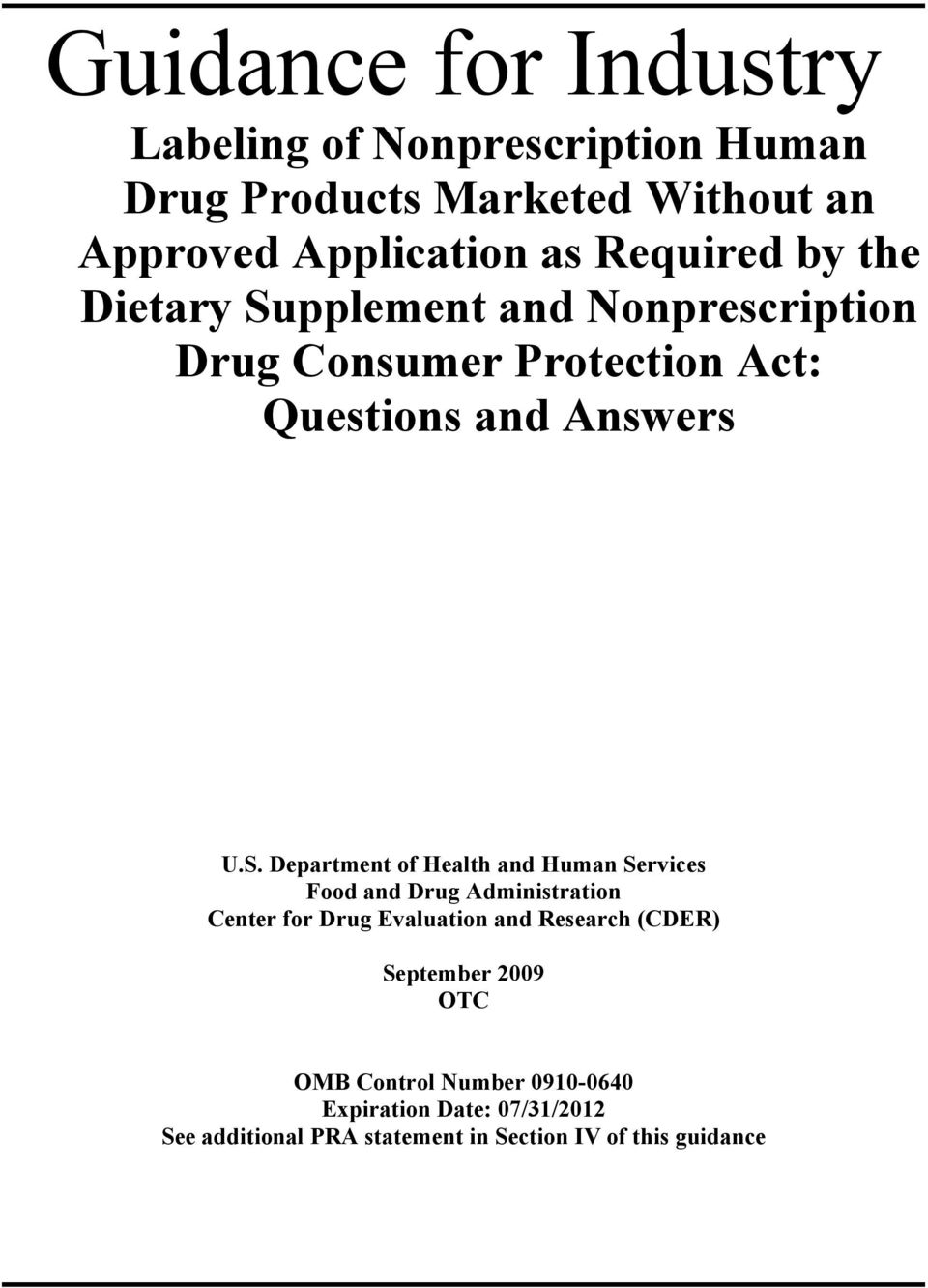 pplement and Nonprescription Drug Consumer Protection Act: Questions and Answers U.S.