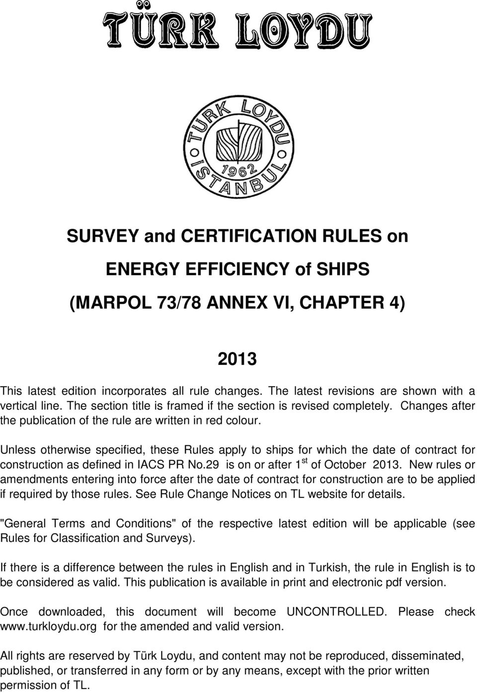 Survey And Certification Rules On Energy Efficiency Of Ships Marpol