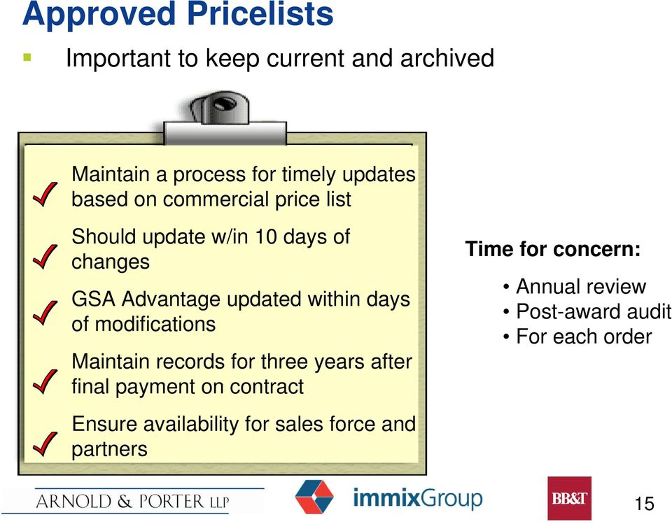 days of modifications Maintain records for three years after final payment on contract Ensure