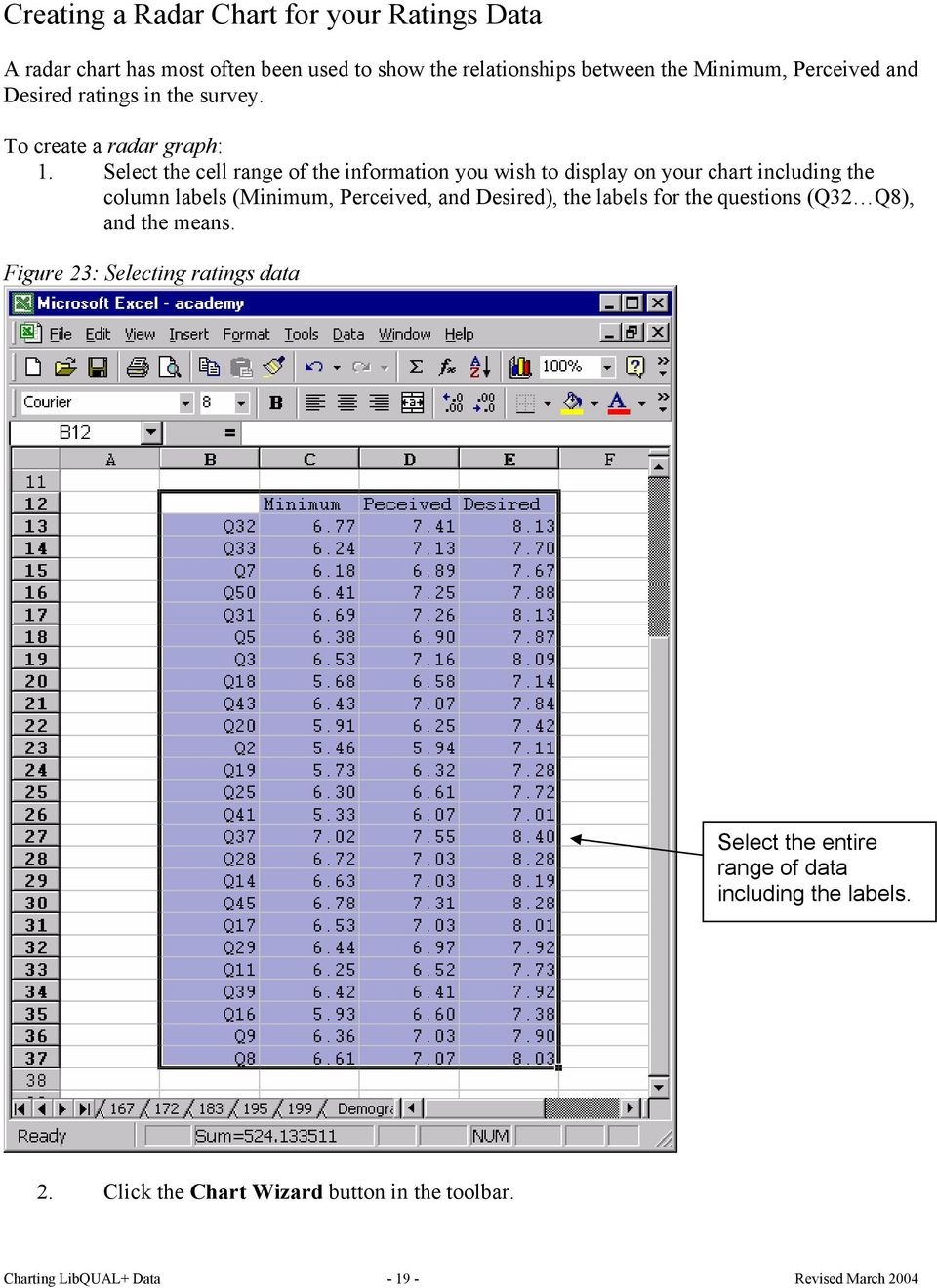 Select the cell range of the information you wish to display on your chart including the column labels (Minimum, Perceived, and Desired), the