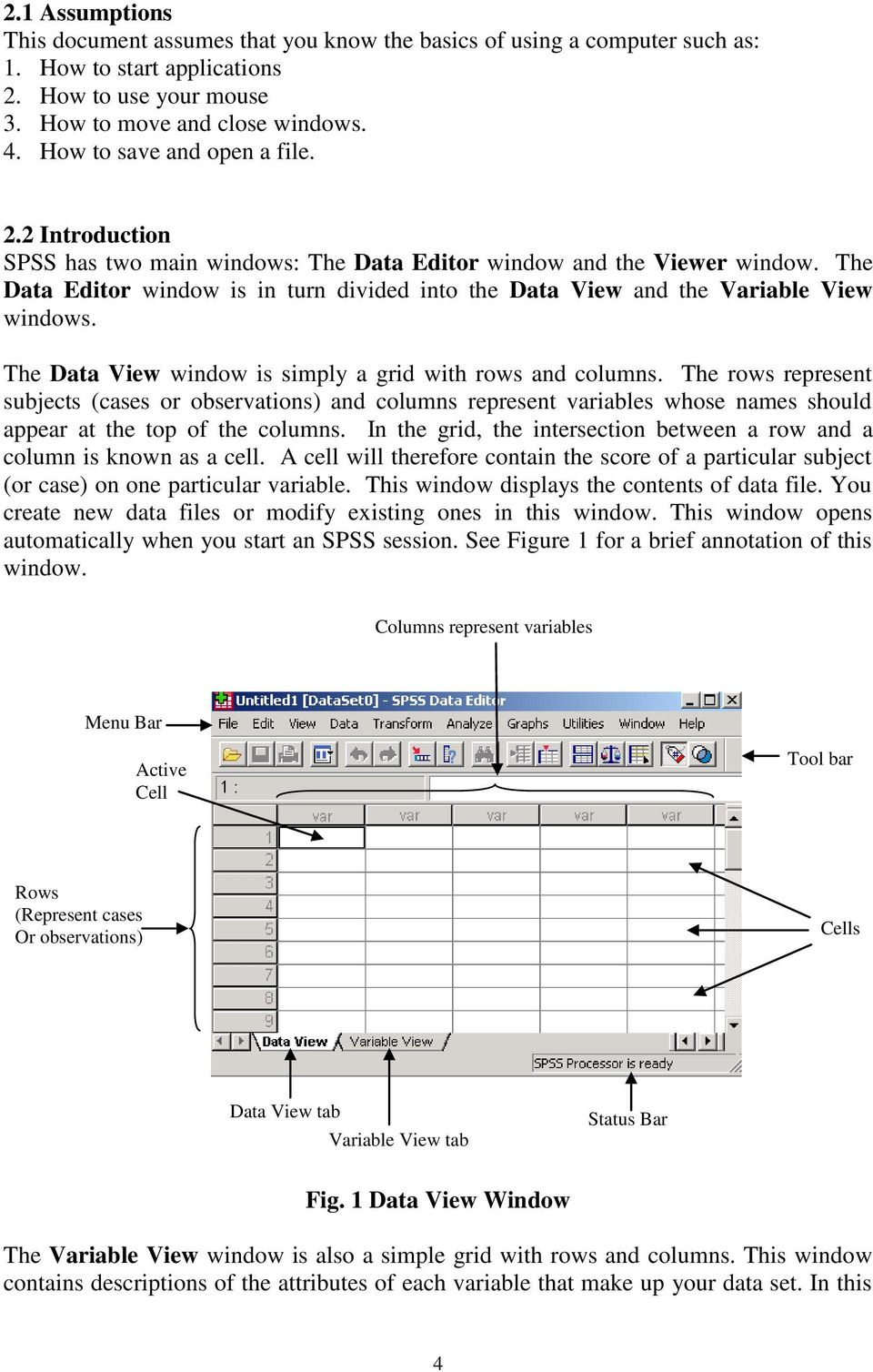 The Data Editor window is in turn divided into the Data View and the Variable View windows. The Data View window is simply a grid with rows and columns.