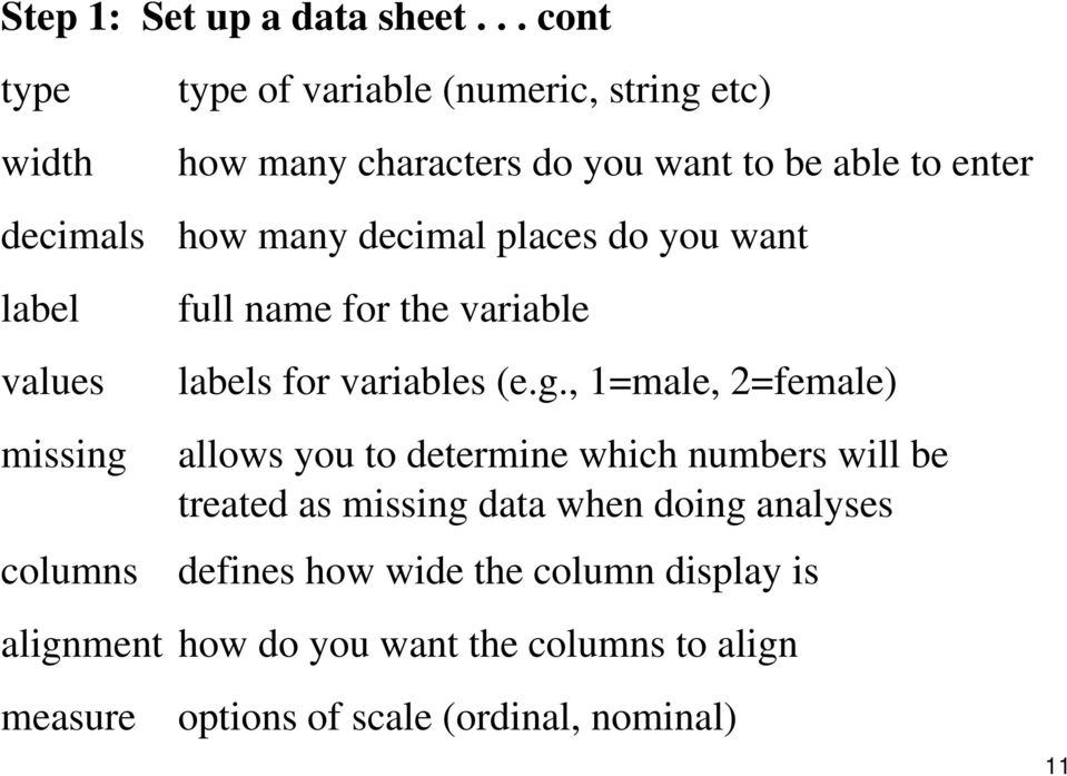 want to be able to enter how many decimal places do you want full name for the variable labels for variables (e.g.