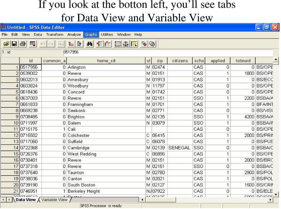 see tabs for Data