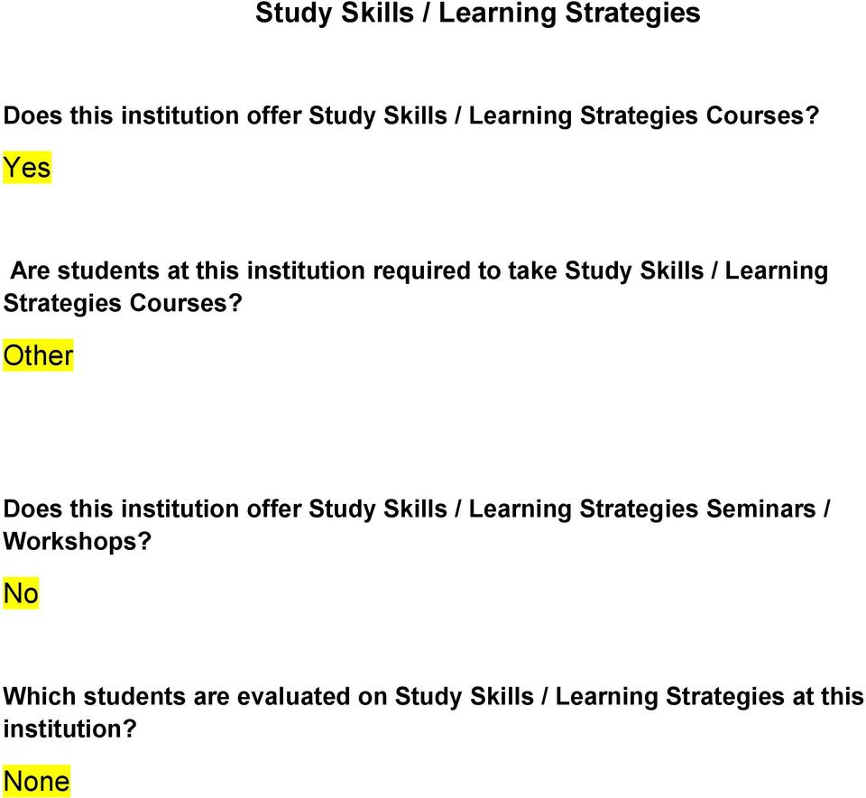 Are students at this institution required to take Study Skills / Learning  Other Does this