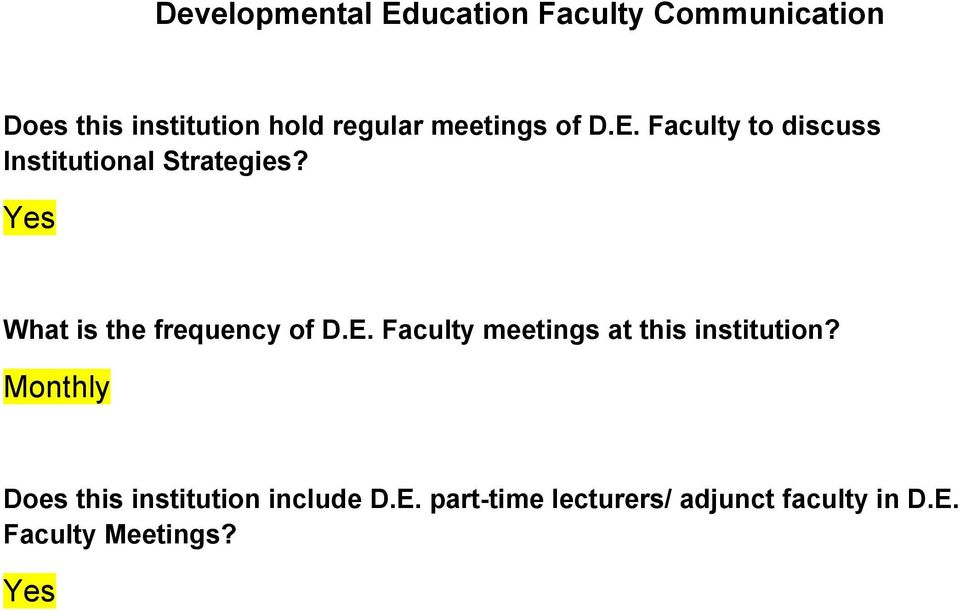 What is the frequency of D.E. Faculty meetings at this institution?