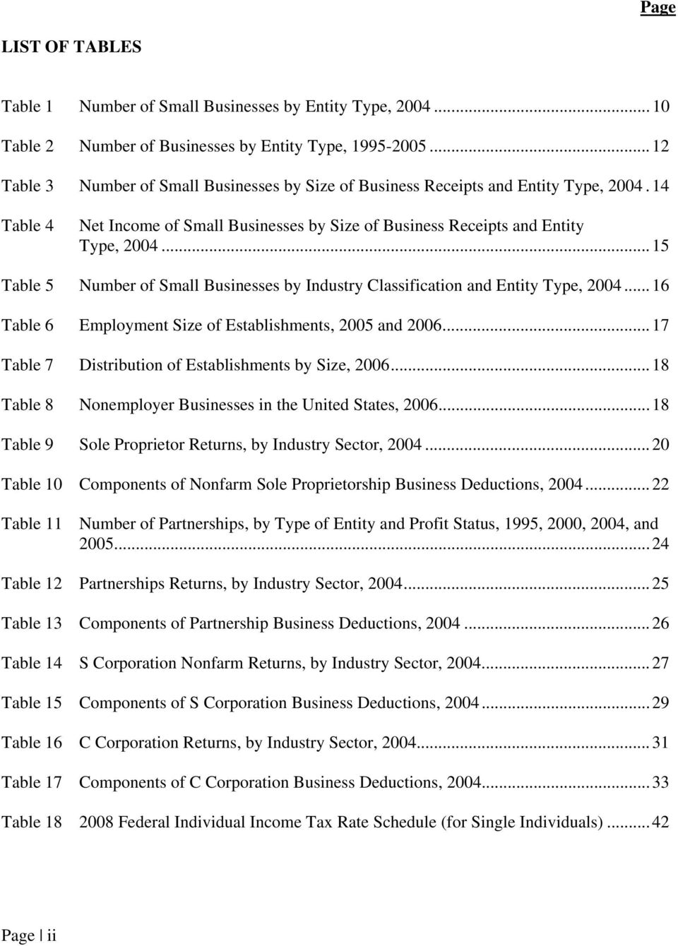 ..15 Table 5 Number of Small Businesses by Industry Classification and Entity Type, 2004...16 Table 6 Employment Size of Establishments, 2005 and 2006.
