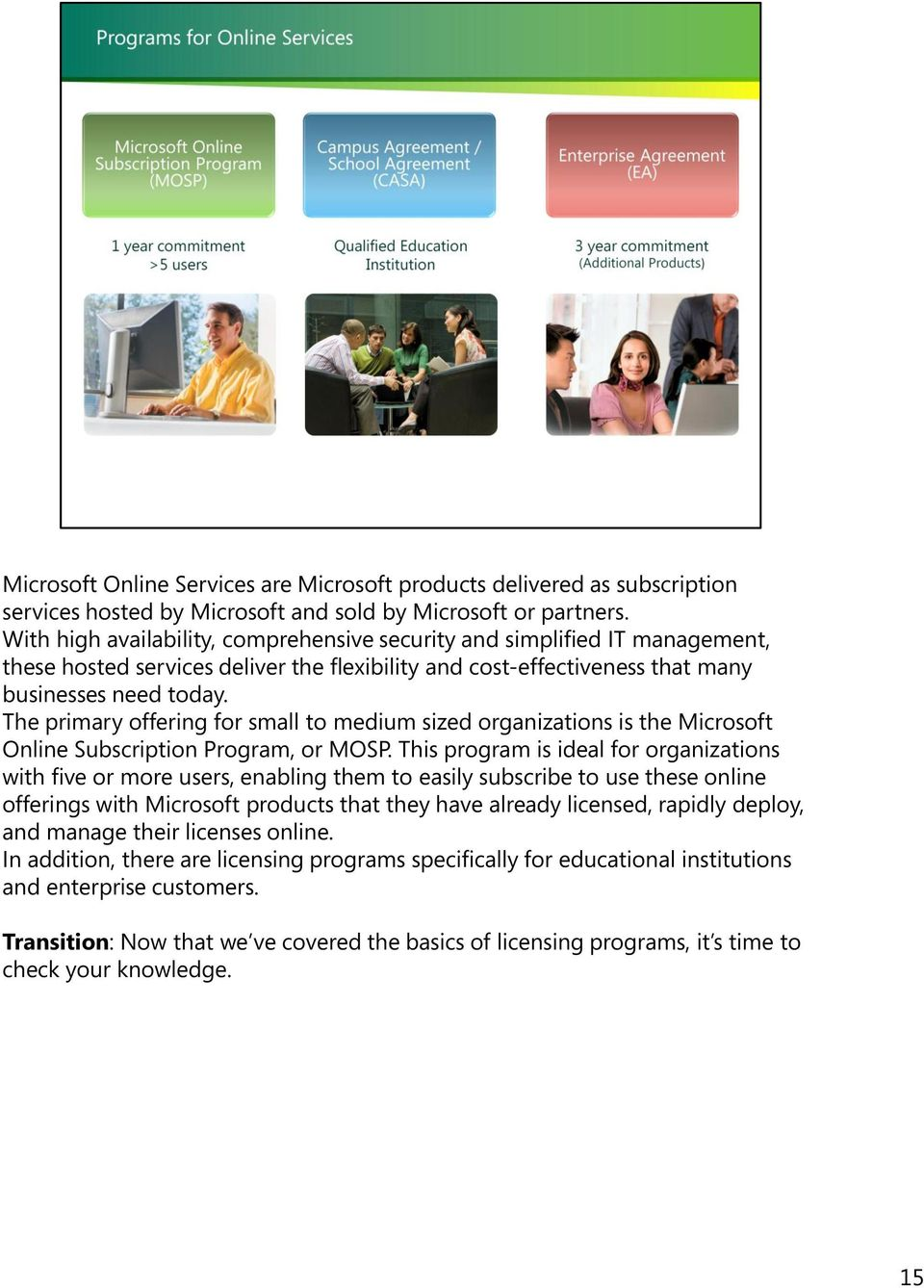 The primary offering for small to medium sized organizations is the Microsoft Online Subscription Program, or MOSP.