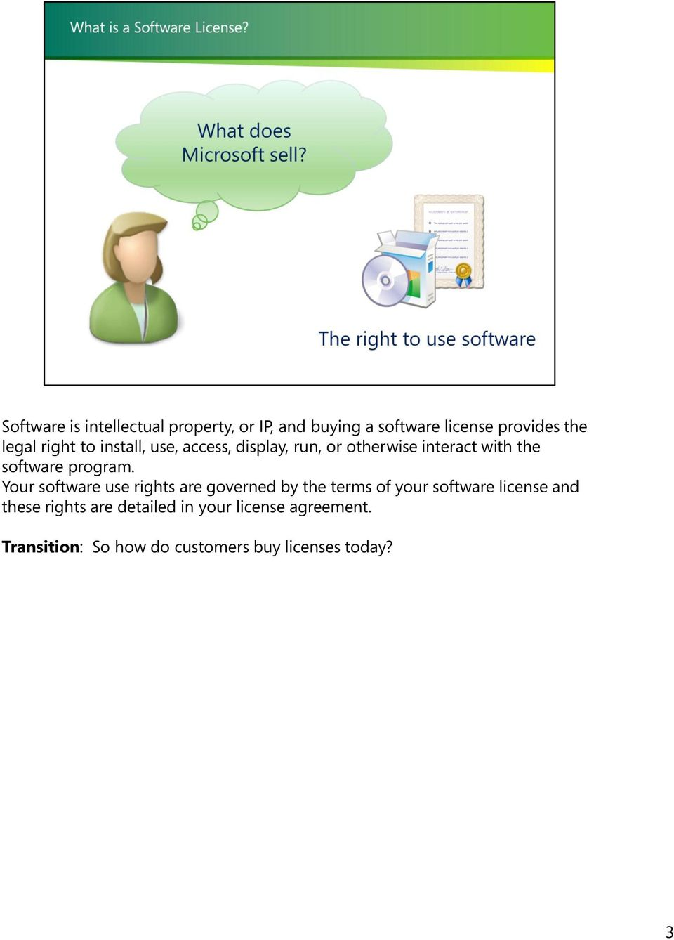 Your software use rights are governed by the terms of your software license and these rights