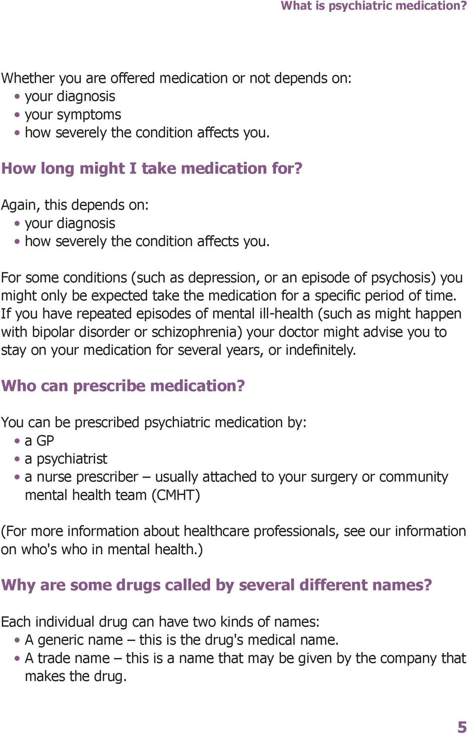 For some conditions (such as depression, or an episode of psychosis) you might only be expected take the medication for a specific period of time.