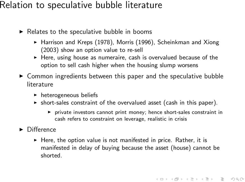 literature heterogeneous beliefs short-sales constraint of the overvalued asset (cash in this paper).