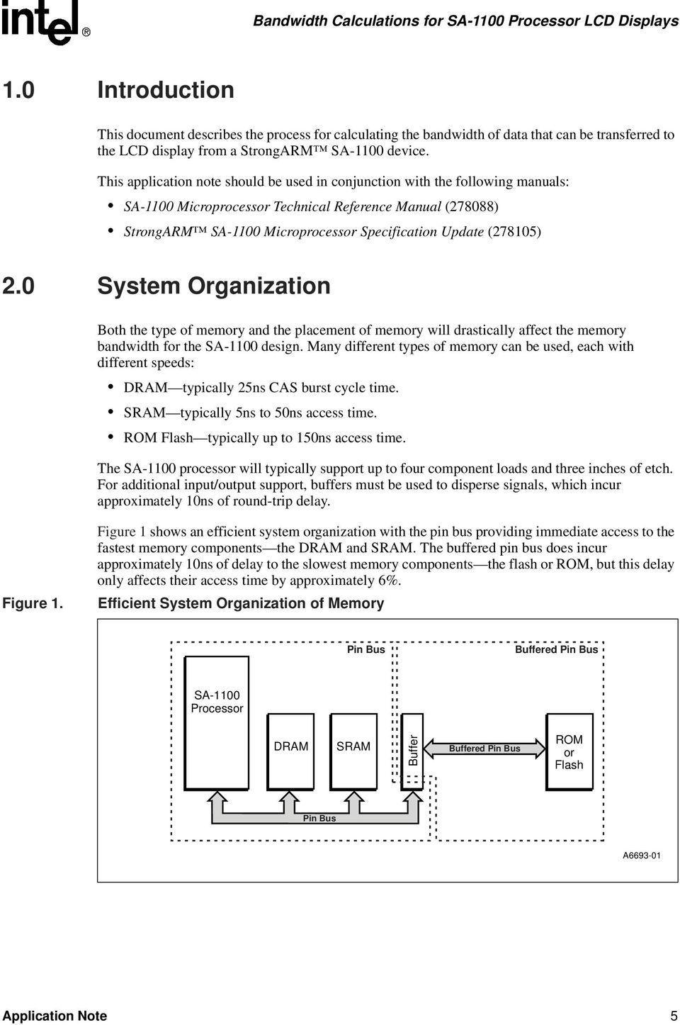 (278105) 2.0 System Organization Both the type of memory and the placement of memory will drastically affect the memory bandwidth for the SA-1100 design.