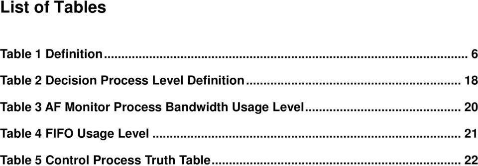.. 18 Table 3 AF Monitor Process Bandwidth Usage Level.