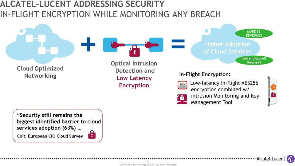REVENUES sell and up-sell Keys-aaS Low-latency In-flight AES256 encryption combined w/ intrusion Monitoring and Key