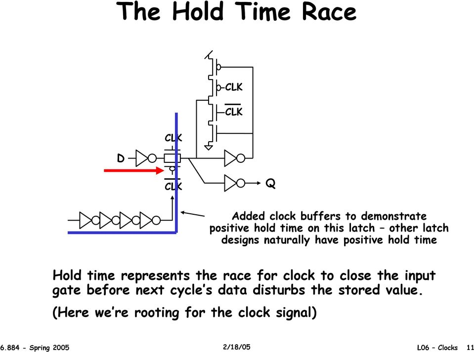the race for clock to close the input gate before next cycle s data disturbs the