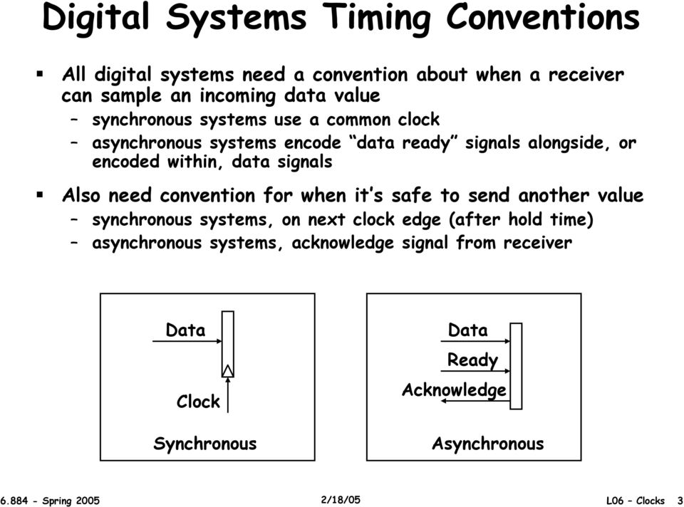 Also need convention for when it s safe to send another value synchronous systems, on next clock edge (after hold time)