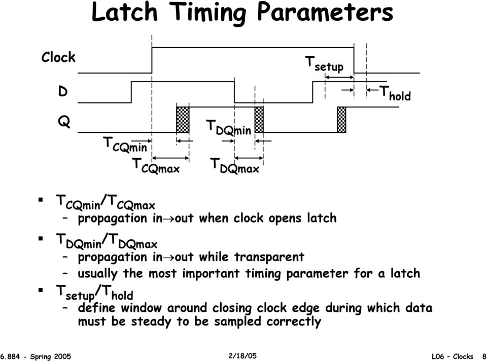 most important timing parameter for a latch T setup /T hold define window around closing
