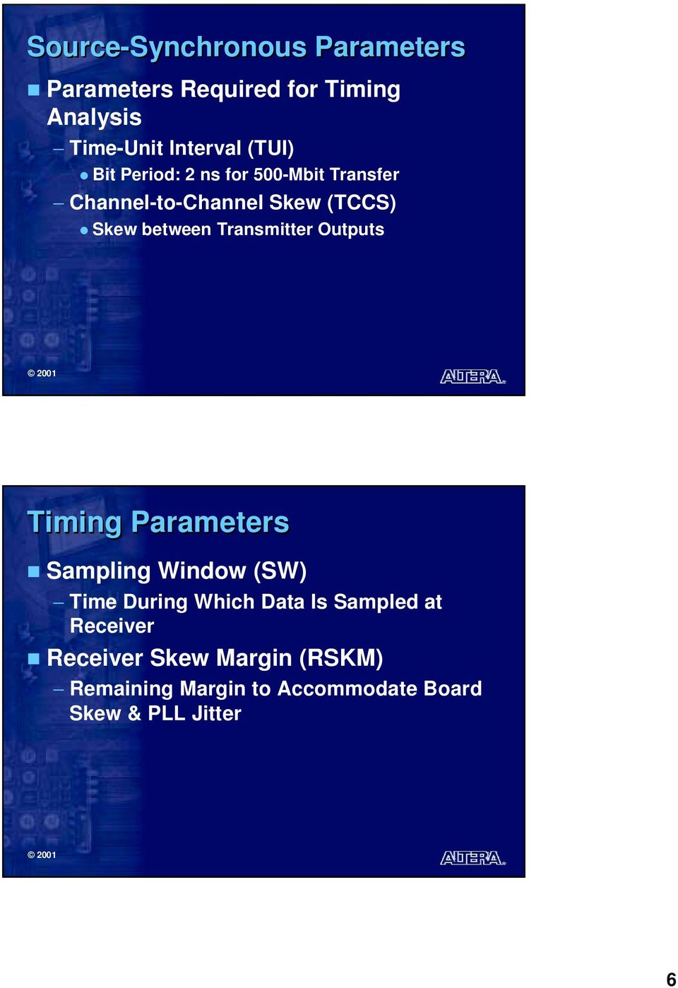 between Transmitter Outputs Timing Parameters Sampling Window (SW) Time During Which Is