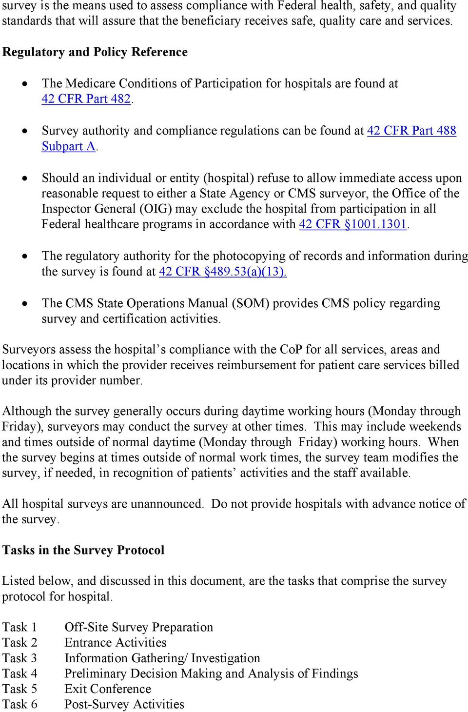 Survey authority and compliance regulations can be found at 42 CFR Part 488 Subpart A.