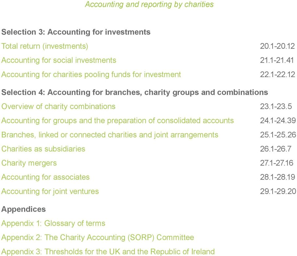 1-24.39 Branches, linked or connected charities and joint arrangements 25.1-25.26 Charities as subsidiaries 26.1-26.7 Charity mergers 27.1-27.16 Accounting for associates 28.1-28.