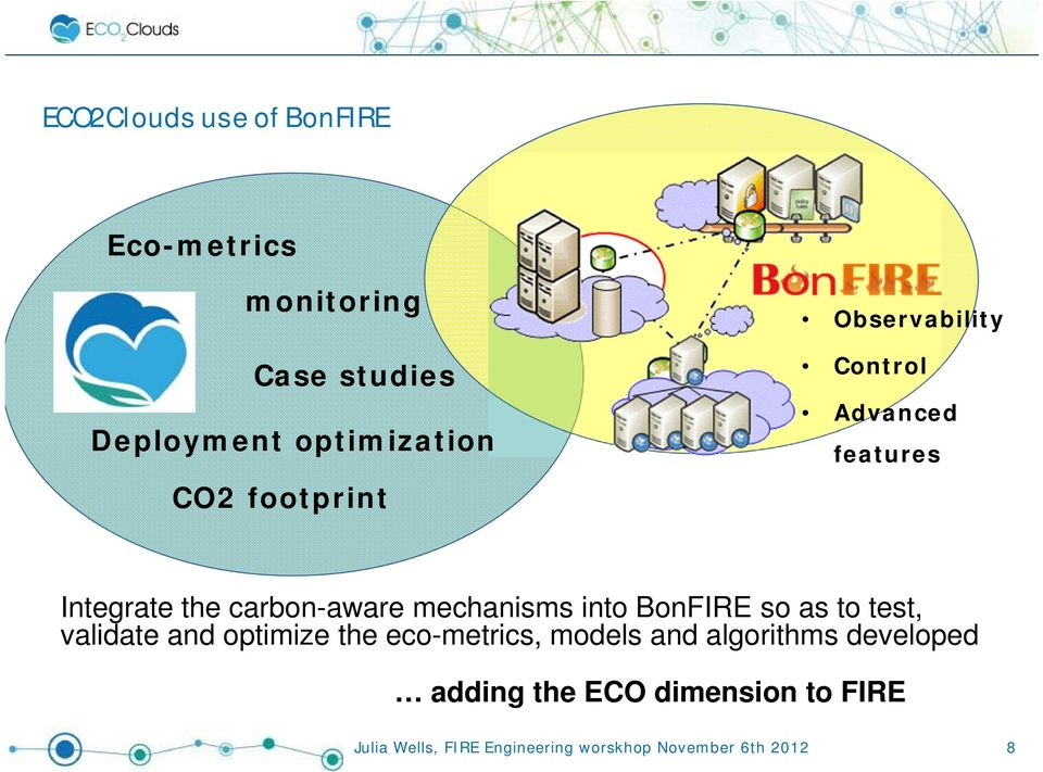 the carbon-aware mechanisms into BonFIRE so as to test, validate and optimize