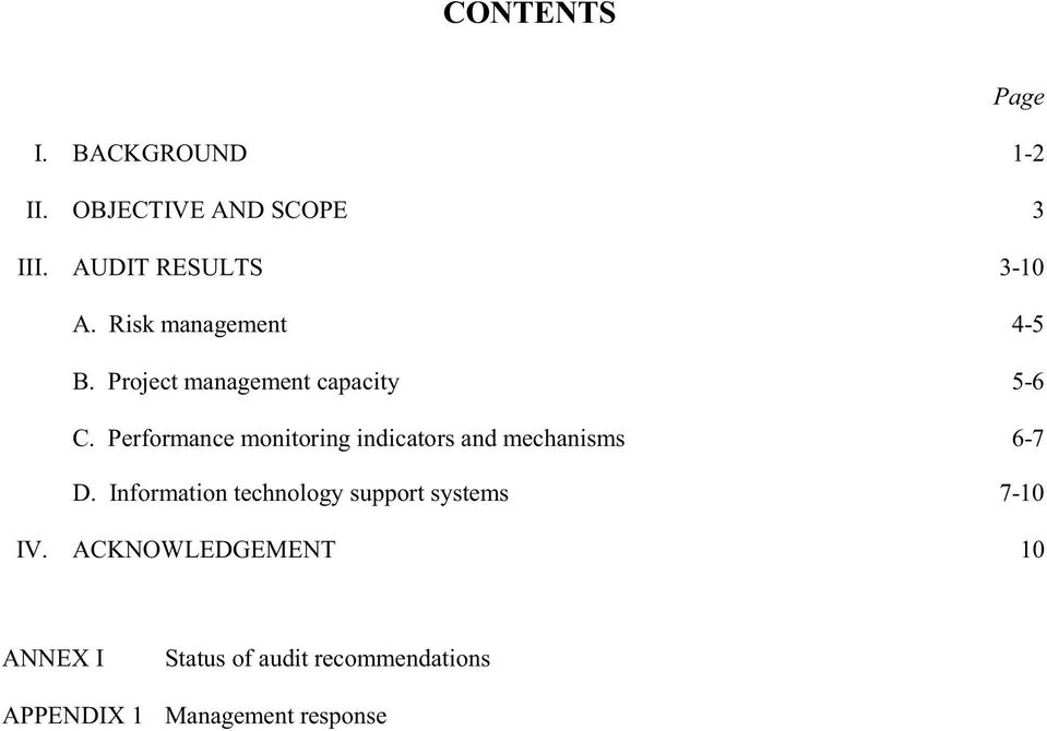 Performance monitoring indicators and mechanisms 6-7 D.