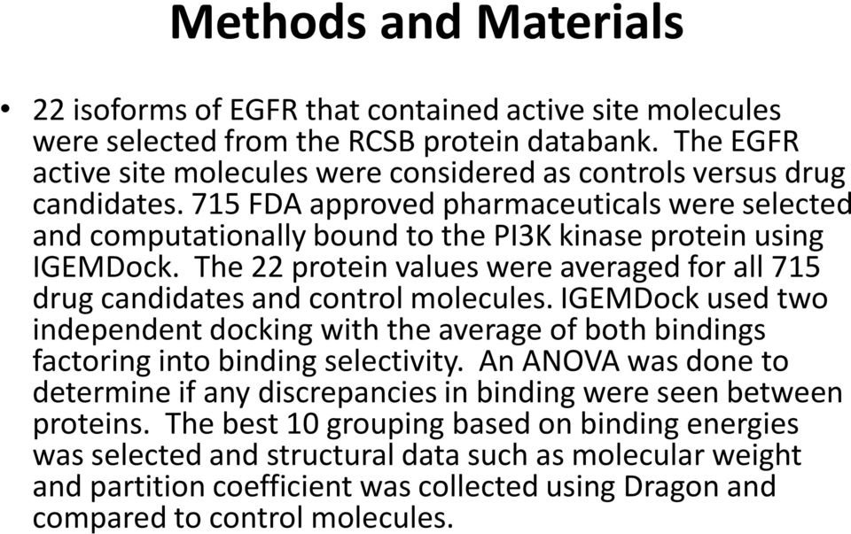 The 22 protein values were averaged for all 715 drug candidates and control molecules. IGEMDock used two independent docking with the average of both bindings factoring into binding selectivity.