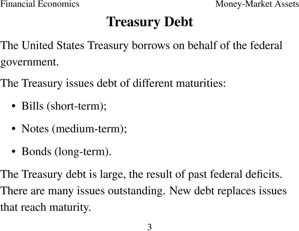 (medium-term); Bonds (long-term).