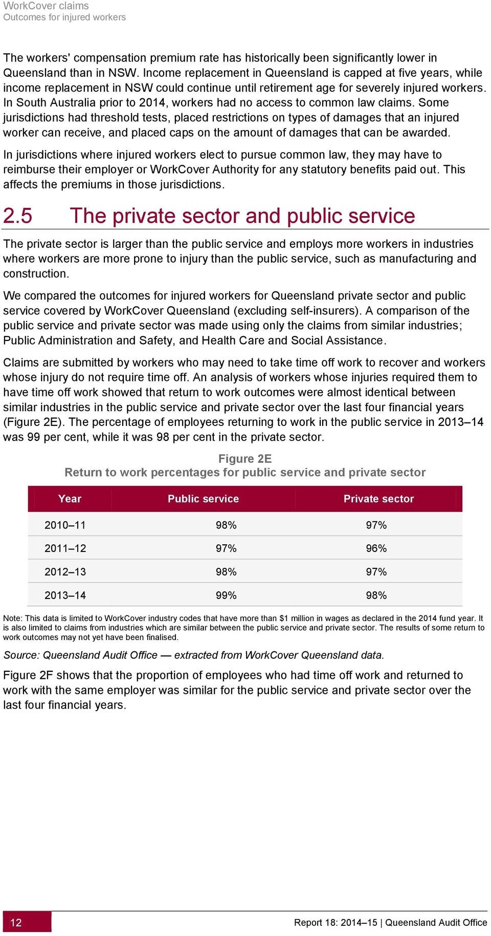 In South Australia prior to 2014, workers had no access to common law claims.