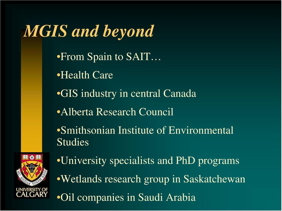Environmental Studies University specialists and PhD programs