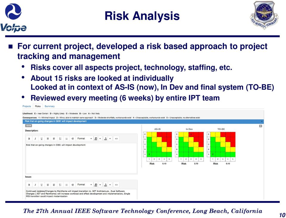 etc. About 15 risks are looked at individually Looked at in context of AS-IS