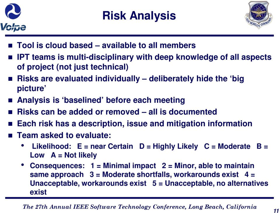 description, issue and mitigation information Team asked to evaluate: Likelihood: E = near Certain D = Highly Likely C = Moderate B = Low A = Not likely Consequences: 1