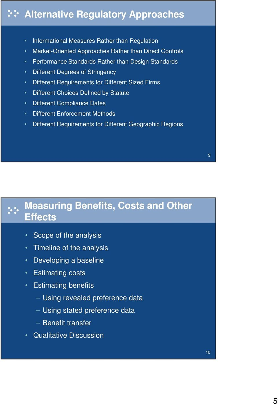 Different Enforcement Methods Different Requirements for Different Geographic Regions 9 Measuring Benefits, Costs and Other Effects Scope of the analysis Timeline of