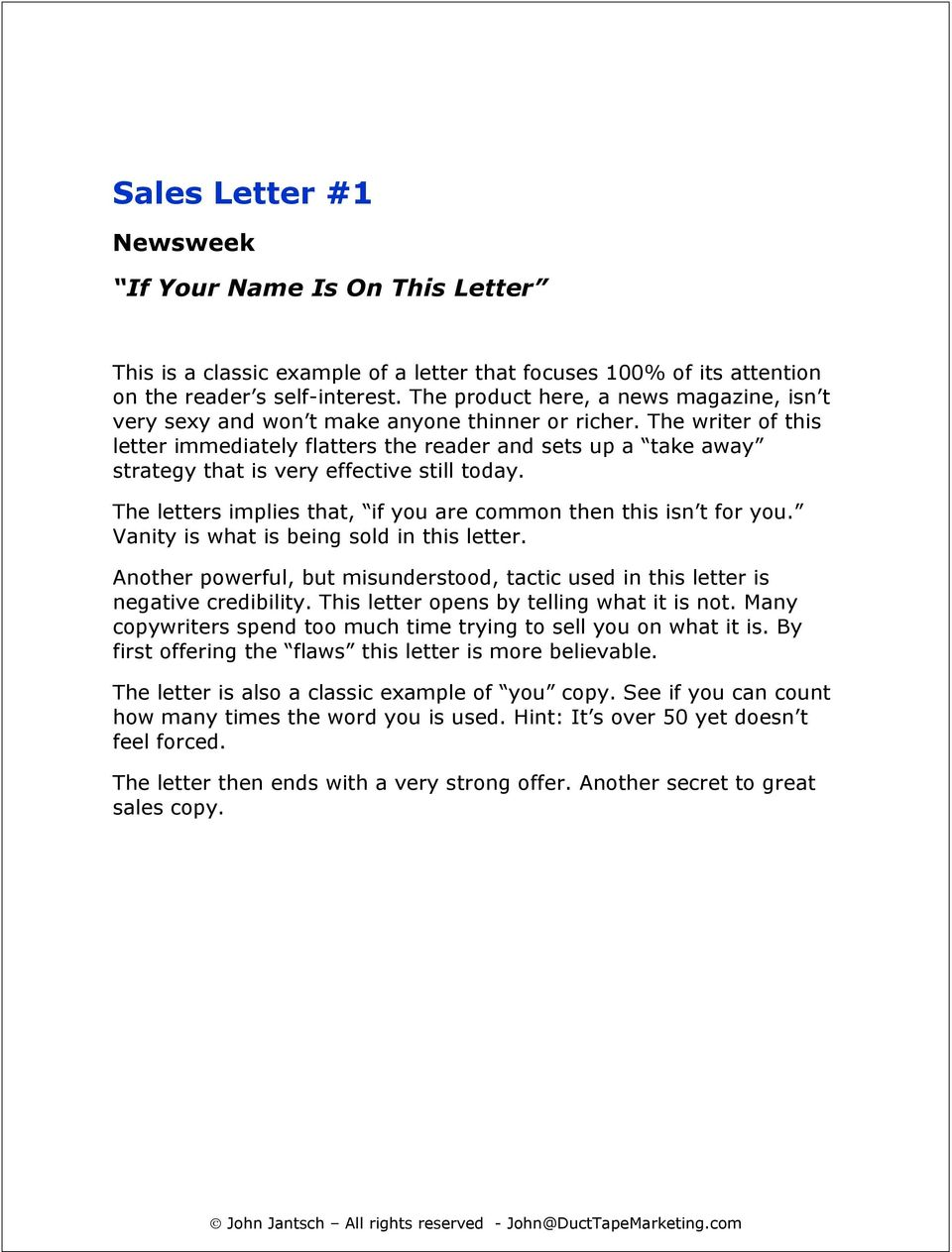 The Greatest Sales Letters Of All Time - PDF