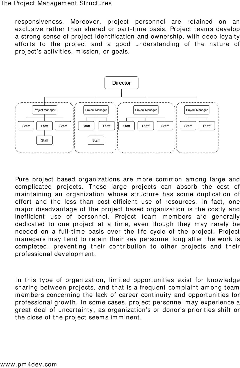 goals. Director Pure project based organizations are more common among large and complicated projects.