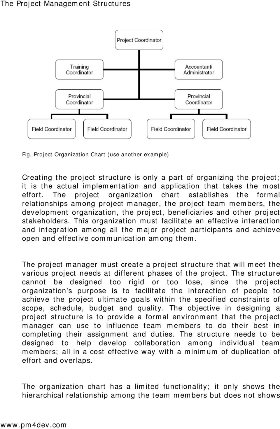 The project organization chart establishes the formal relationships among project manager, the project team members, the development organization, the project, beneficiaries and other project
