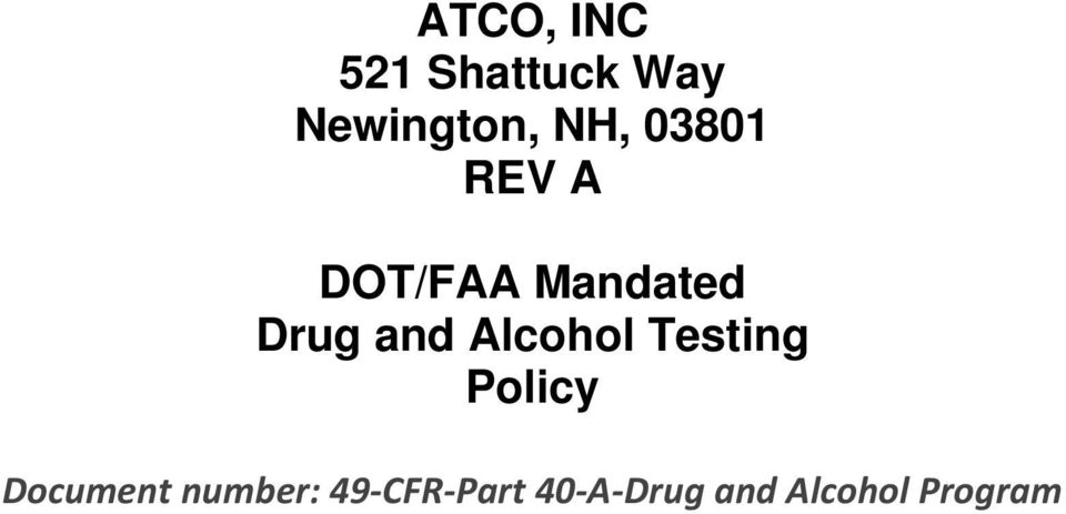 and Alcohol Testing Policy Document