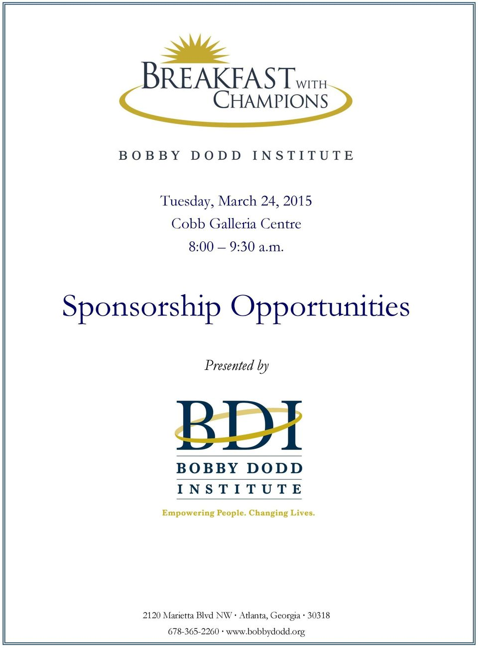 Sponsorship Opportunities Presented by 2120