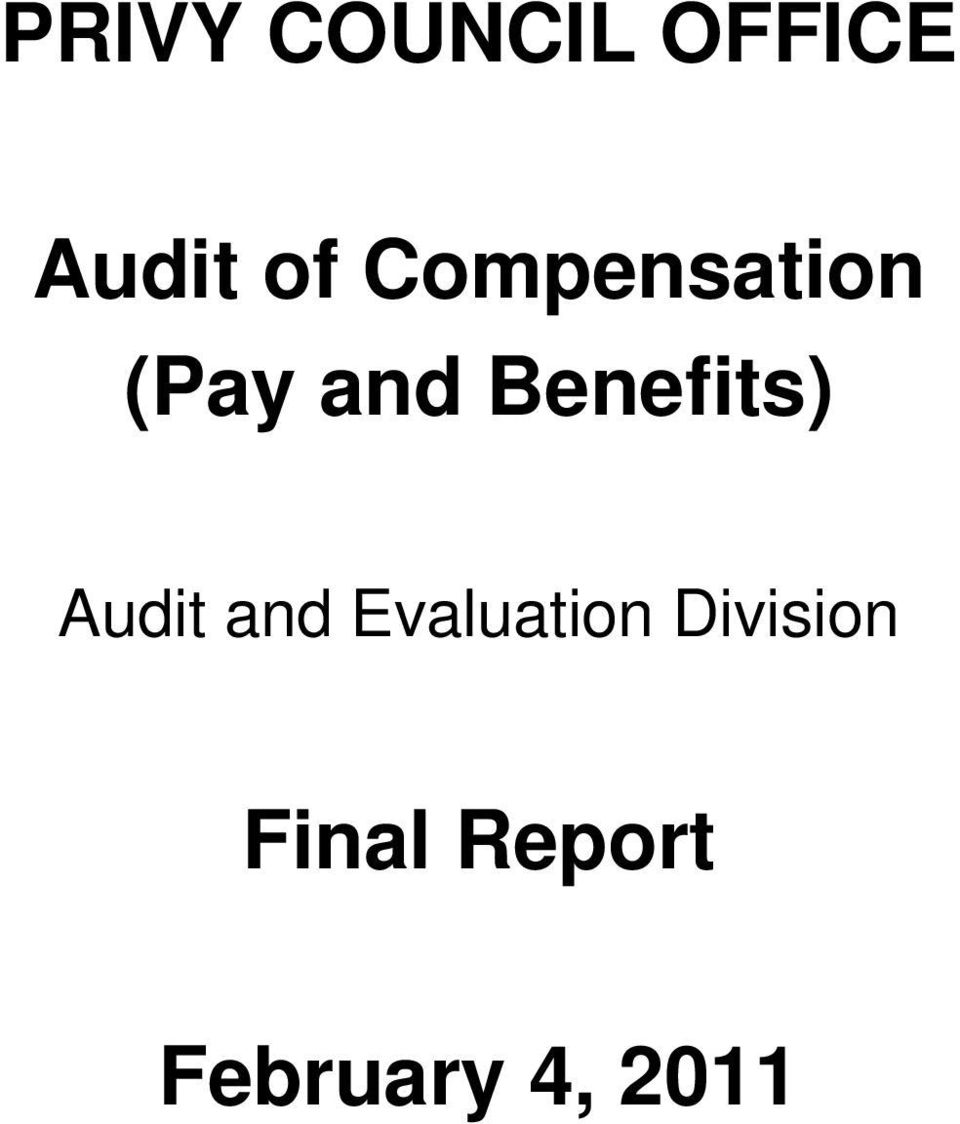 Benefits) Audit and Evaluation