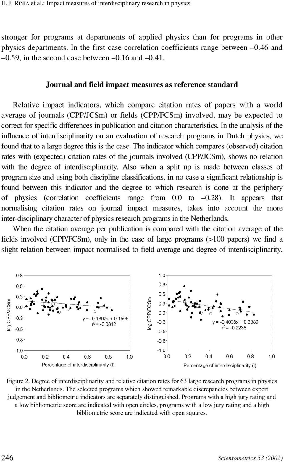 Journal and field impact measures as reference standard Relative impact indicators, which compare citation rates of papers with a world average of journals (CPP/JCSm) or fields (CPP/FCSm) involved,