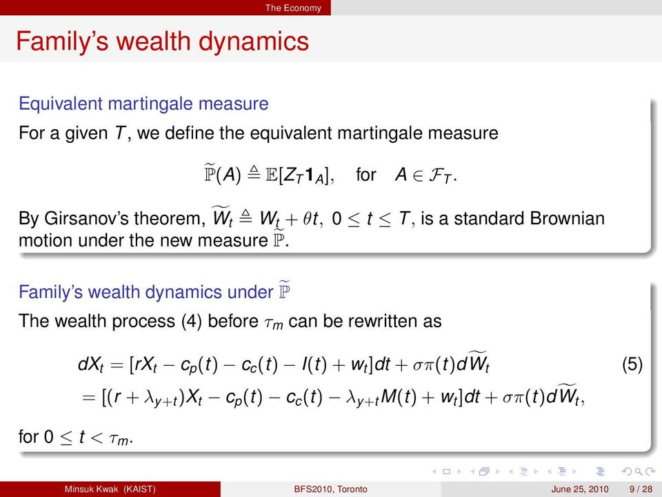 Family s wealh dynamics under P The wealh process (4) before τ m can be rewrien as dx = [rx c p () c c () I() + w ]d +