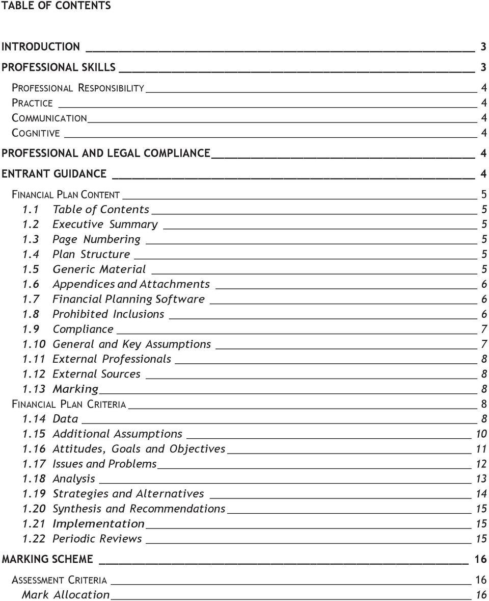 8 Prohibited Inclusions 6 1.9 Compliance 7 1.10 General and Key Assumptions 7 1.11 External Professionals 8 1.12 External Sources 8 1.13 Marking 8 FINANCIAL PLAN CRITERIA 8 1.14 Data 8 1.