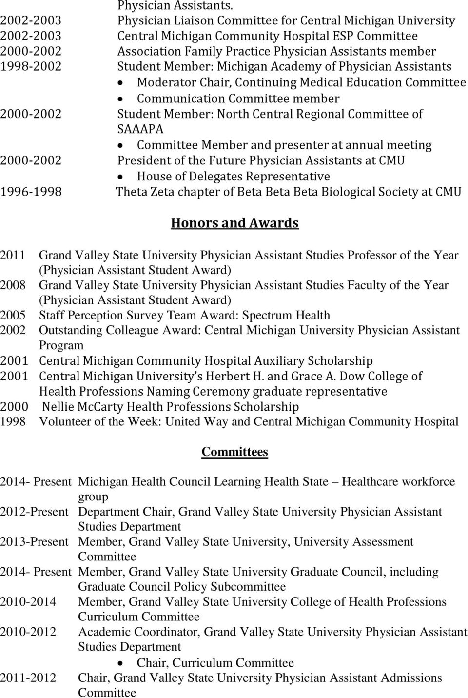 1998-2002 Student Member: Michigan Academy of Physician Assistants Moderator Chair, Continuing Medical Education Committee Communication Committee member 2000-2002 Student Member: North Central