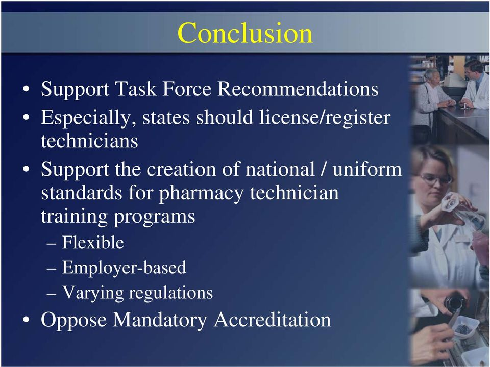 national / uniform standards for pharmacy technician training