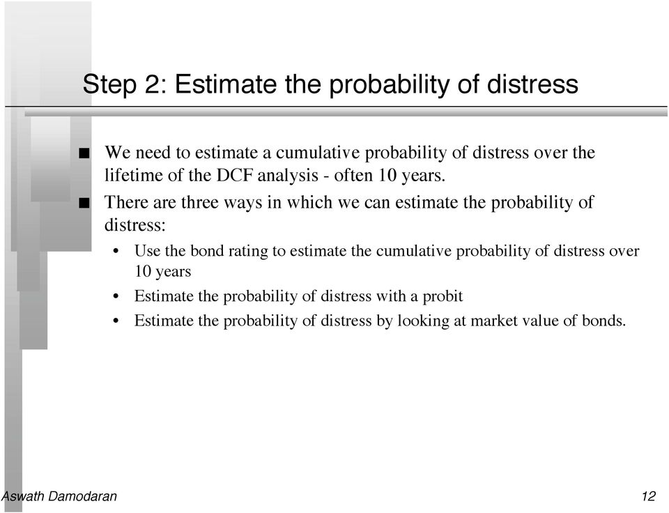 There are three ways i which we ca estimate the probability of distress: Use the bod ratig to estimate the