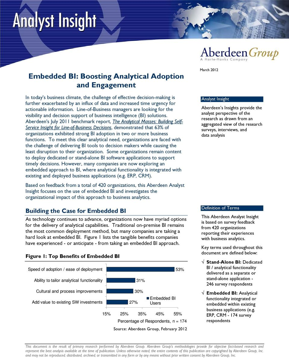Aberdeen's July 2011 benchmark report, The Analytical Masses: Building Self- Service Insight for Line-of-Business Decisions, demonstrated that 63% of organizations exhibited strong BI adoption in two