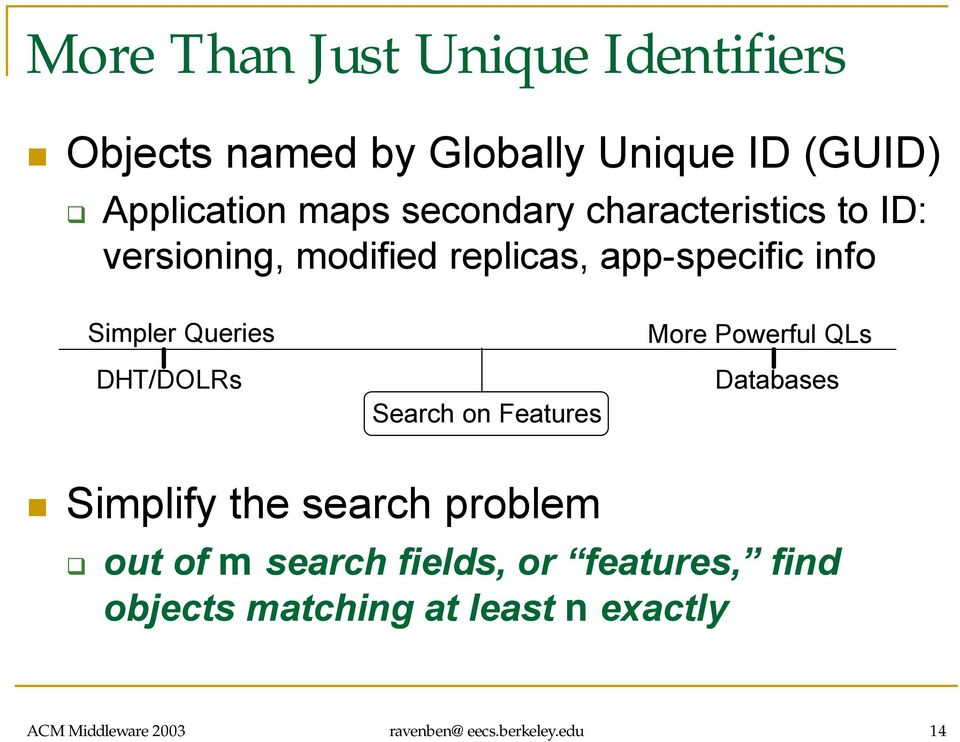 DHT/DOLRs Search on Features More Powerful QLs Databases Simplify the search problem out of m search