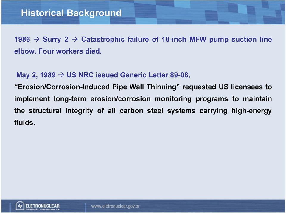 May, 1989 US NRC issued Generic Letter 89-08, Erosion/Corrosion-Induced Pipe Wall Thinning