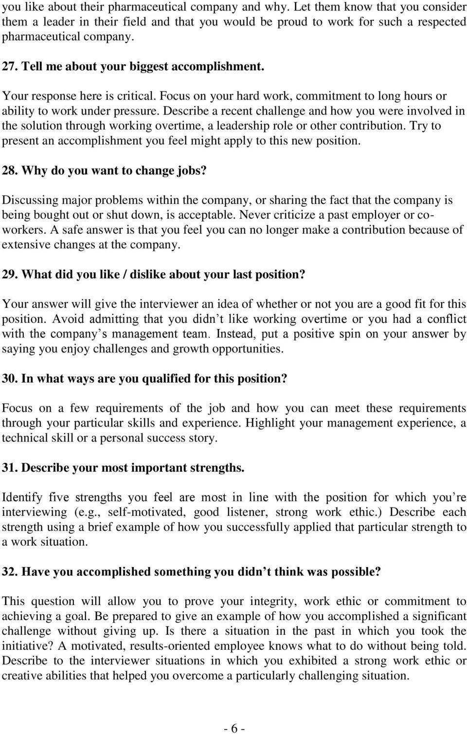 interview questions and answers pdf describe a recent challenge and how you were involved in the solution through working overtime