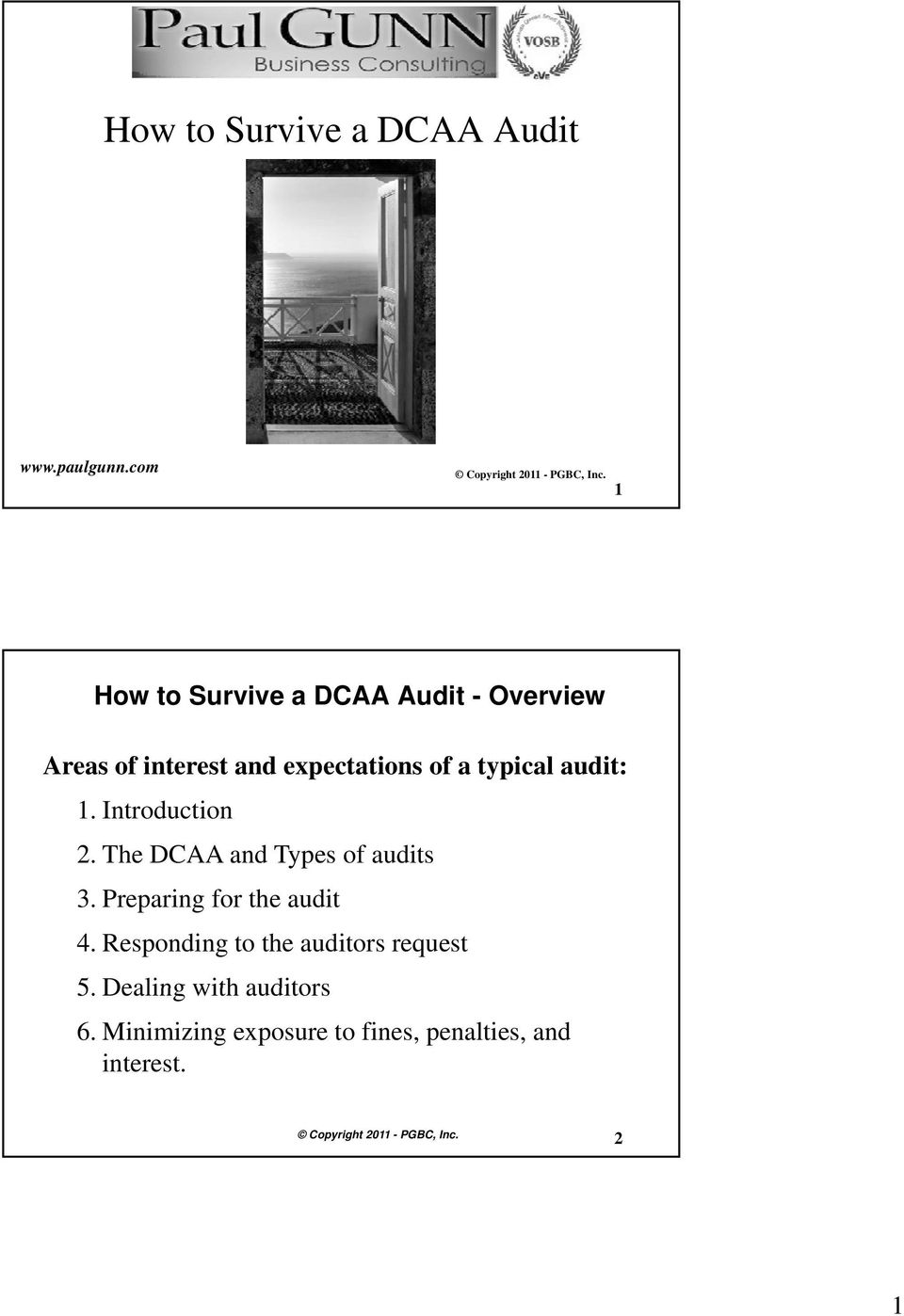 typical audit: 1. Introduction o 2. The DCAA and Types of audits 3.