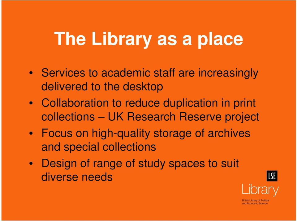 collections UK Research Reserve project Focus on high-quality storage of